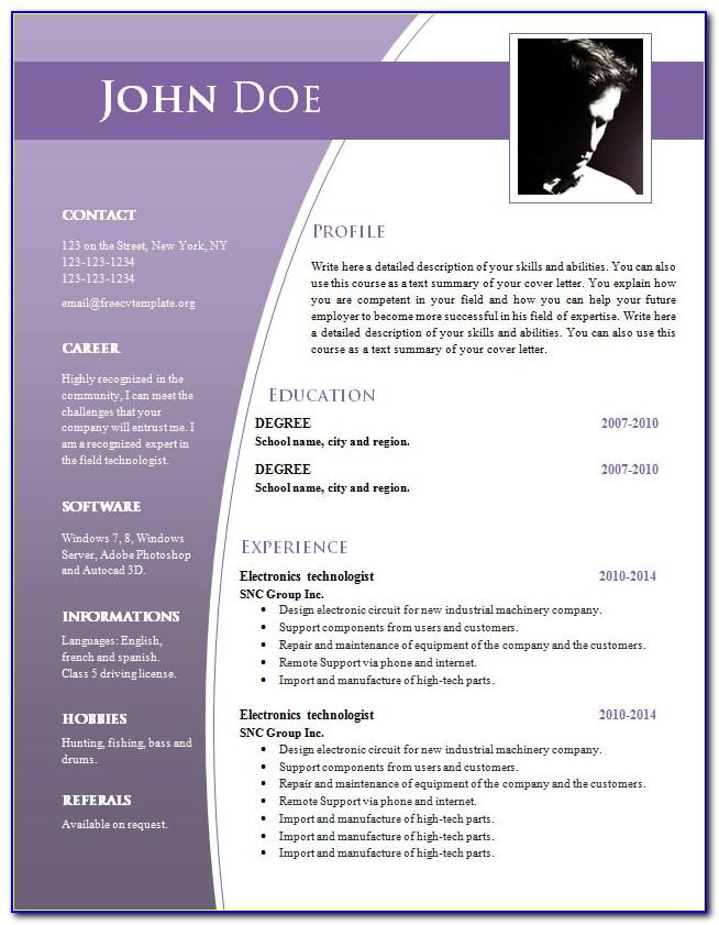 Curriculum Vitae Resume Template Download