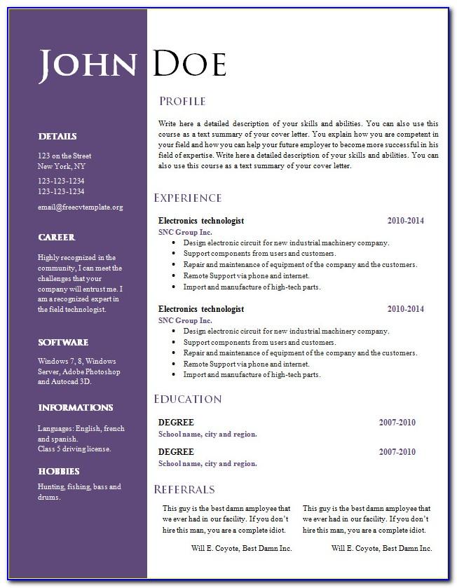 Curriculum Vitae Resume Template Word