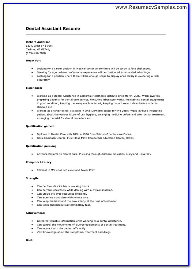 Curriculum Vitae Sample For Dental Assistant