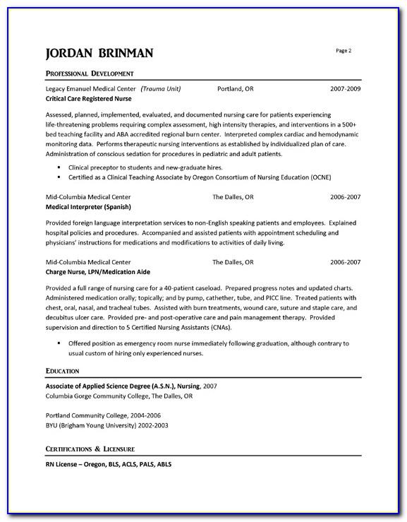 Curriculum Vitae Sample For Registered Nurse
