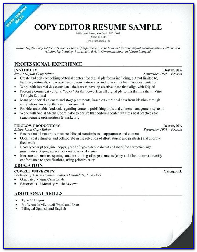 Video Editor Resume Template Video Editor Resume Sample Sample Pertaining To Copy Editor Resume Sample