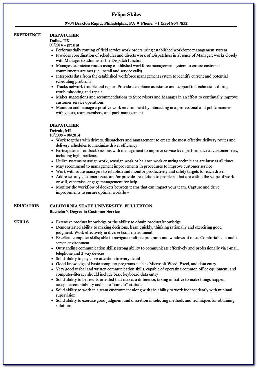Customer Service Dispatcher Resume