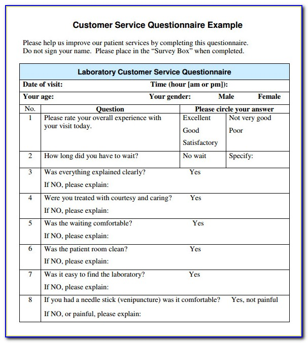 Customer Service Survey Form Template