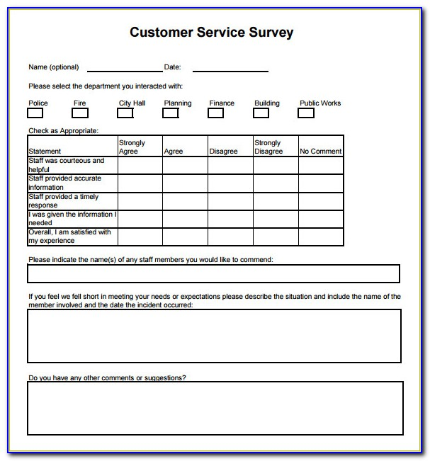 Customer Service Survey Sample