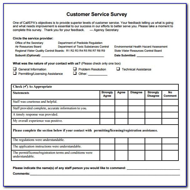 Customer Service Survey Templates Free
