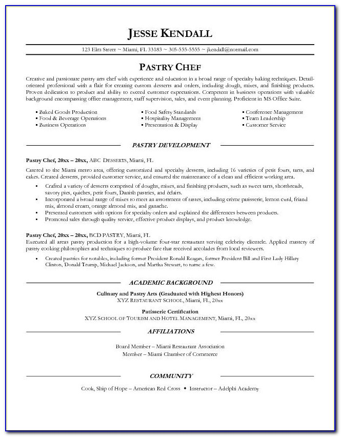 Cv Template For Sous Chef