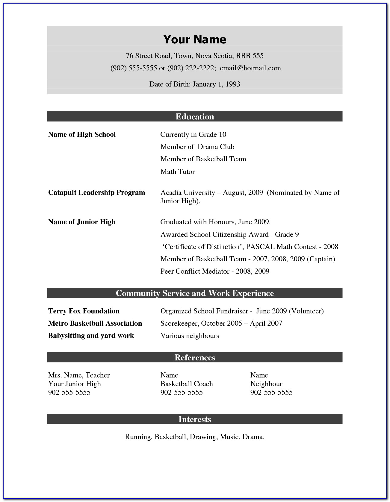 Cv Template Ppt Free Download