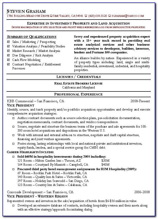 Cv Template Real Estate Agent