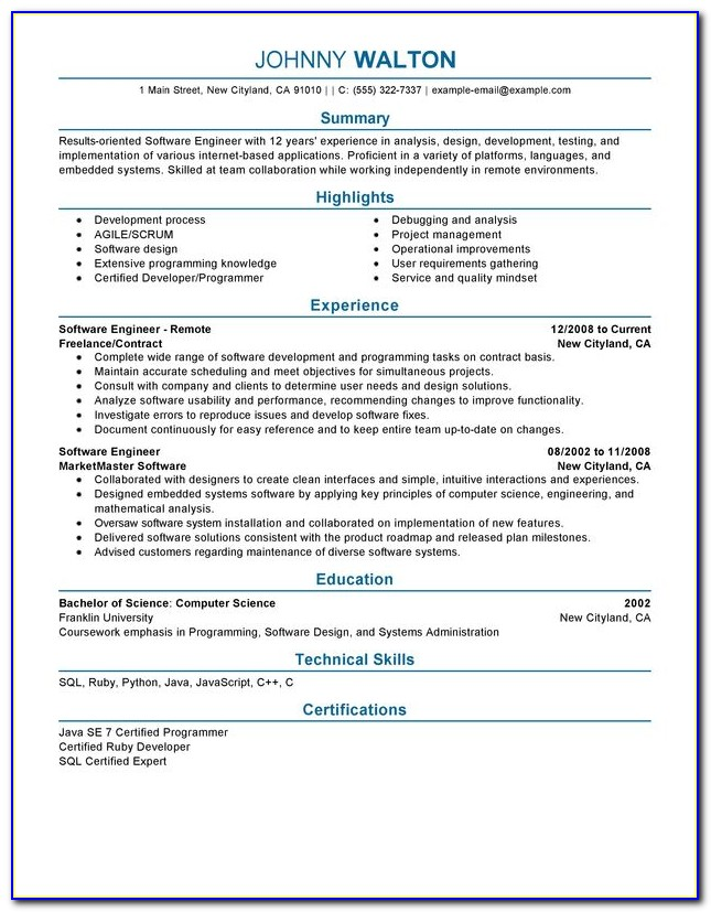 Cv Template Software Engineer
