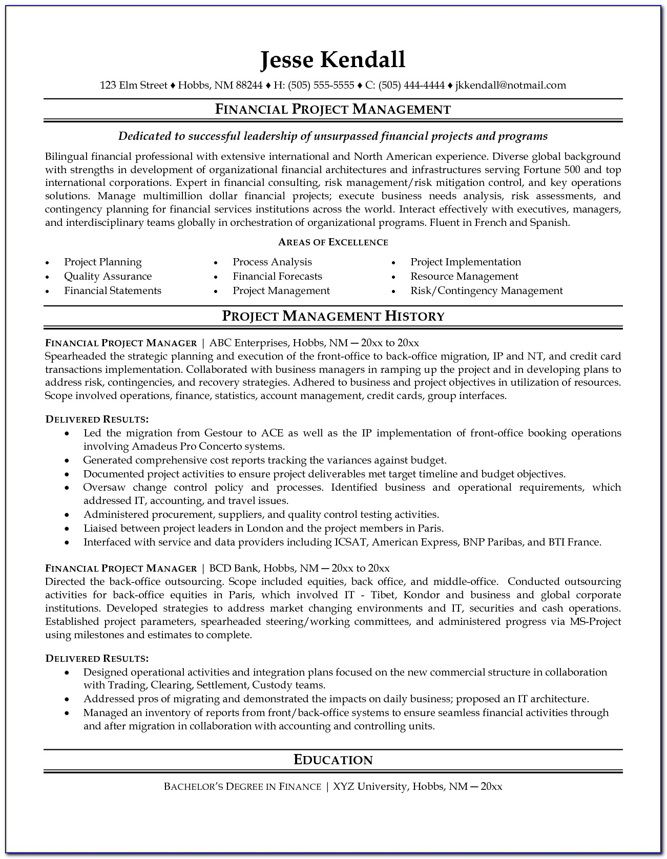 Project Management Resume Example Project Manager Resume Sample Gallery Photos