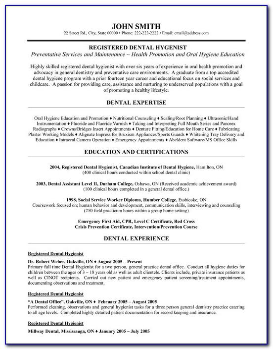 Dental Resume Templates Word