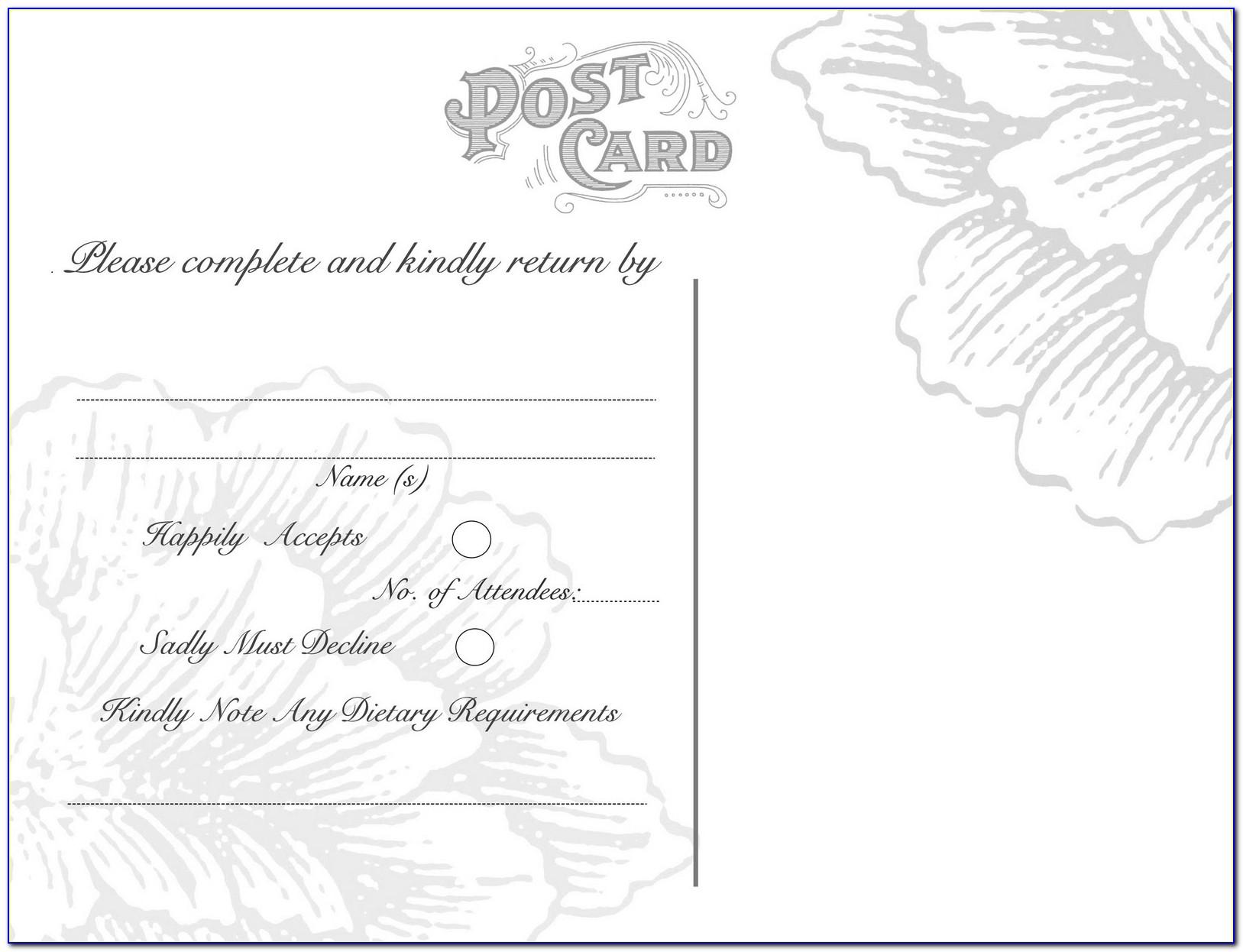 Diy Wedding Rsvp Postcard Template