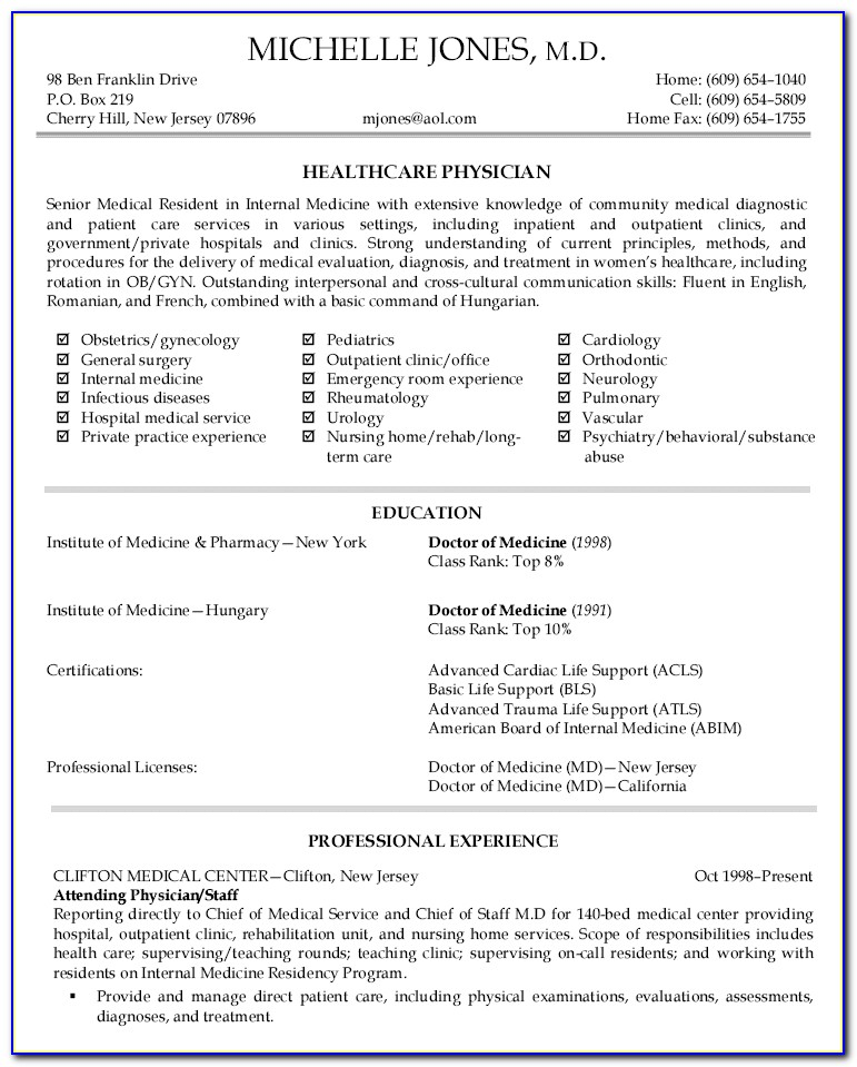 Doctor Resume Template Free Download