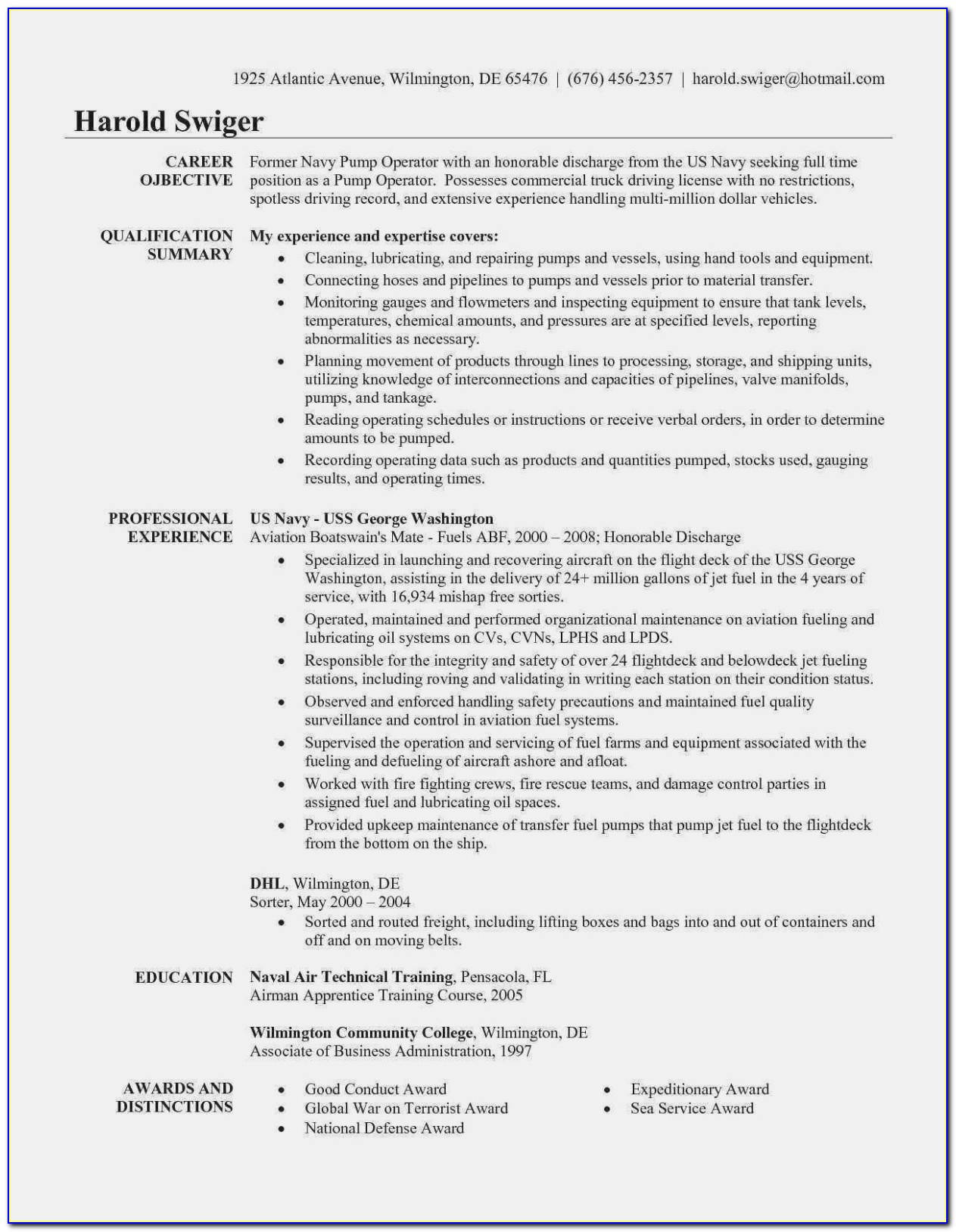 Dump Truck Driver Resume Templates