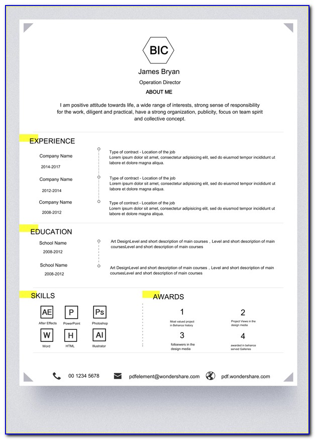 Editable Cv Format Free Download