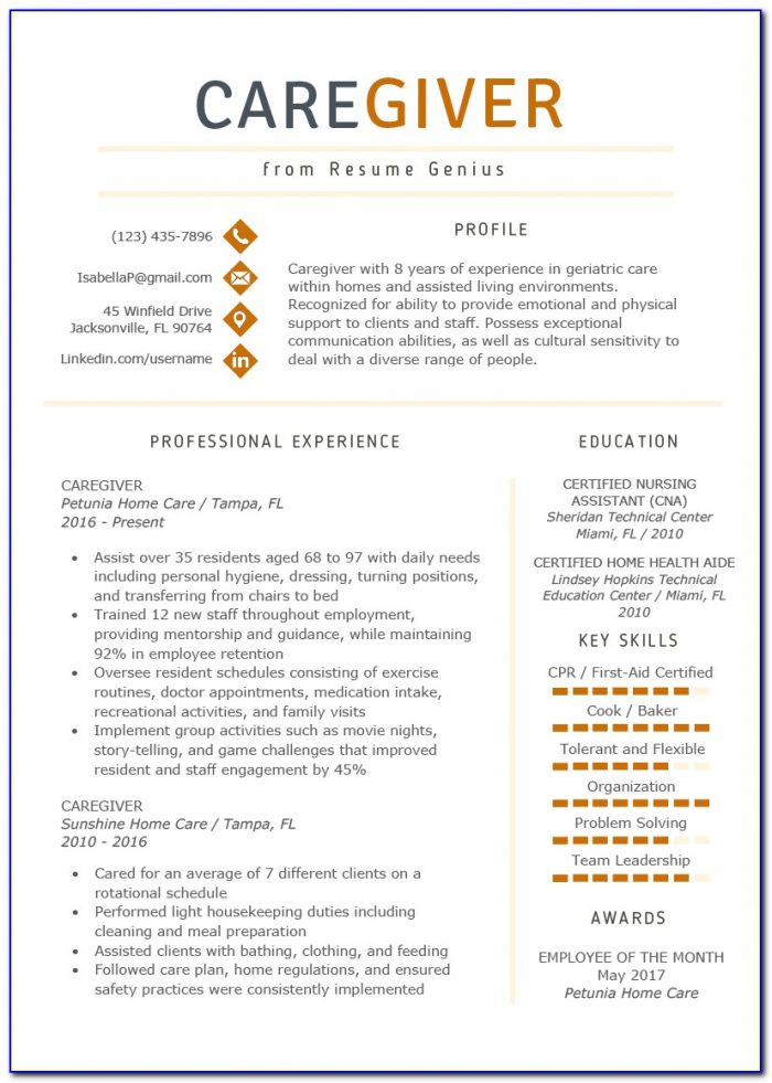 Elderly Caregiver Resume Templates