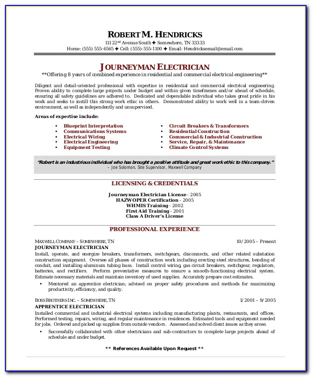 Electrical Resume Templates