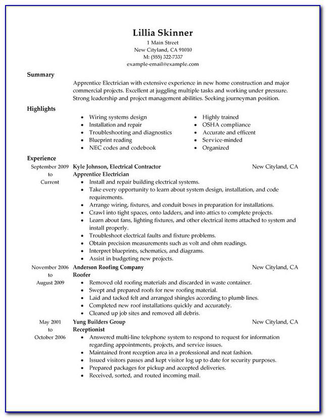 Electrician Apprentice Cv Template