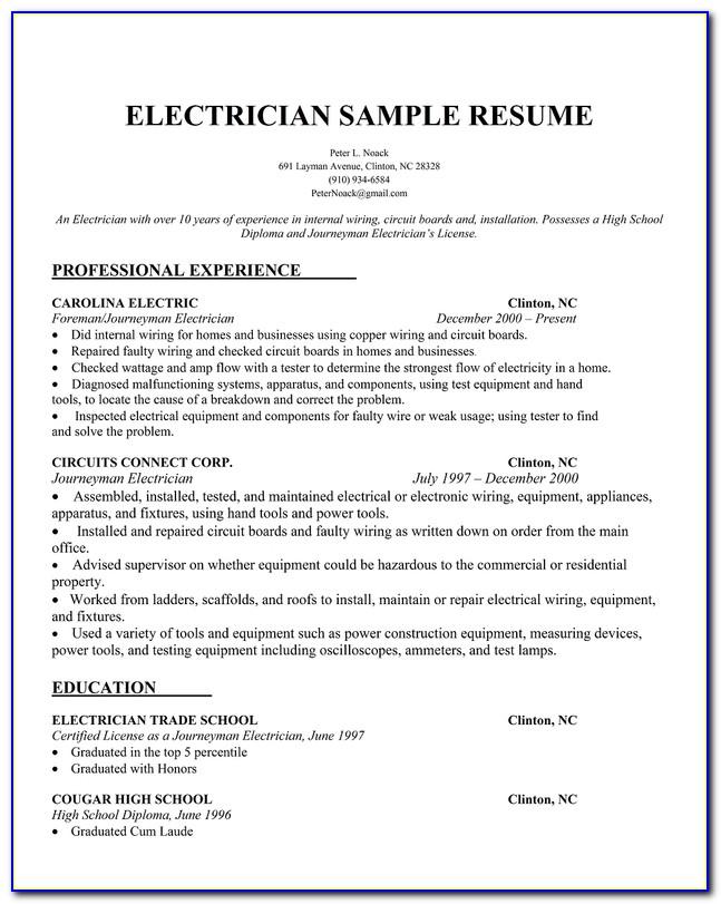 Electrician Resume Templates