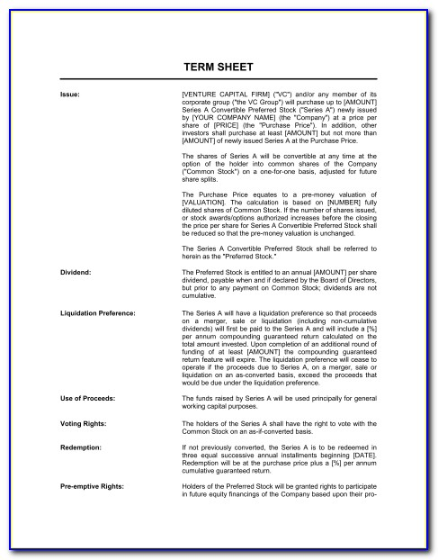 Employment Contract Term Sheet Template