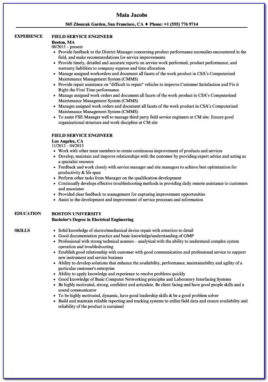 Engineering Professional Resume Writing