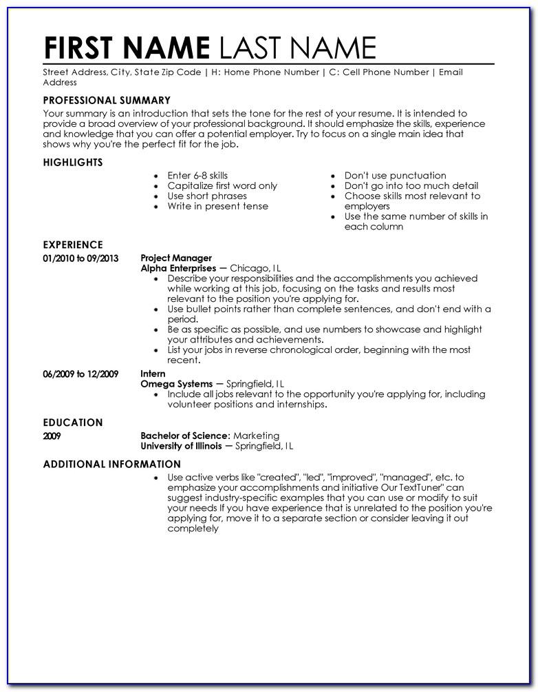 Entry Level Resume Builder