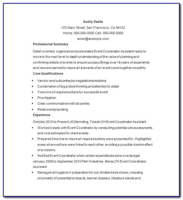 Event Planner Cv Template