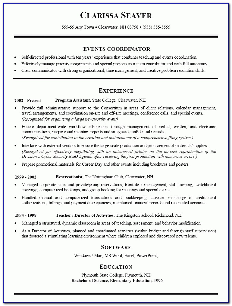Doc.#638825: Event Planner Resume Template – Special Events Resume Pertaining To Event Coordinator Resume Sample