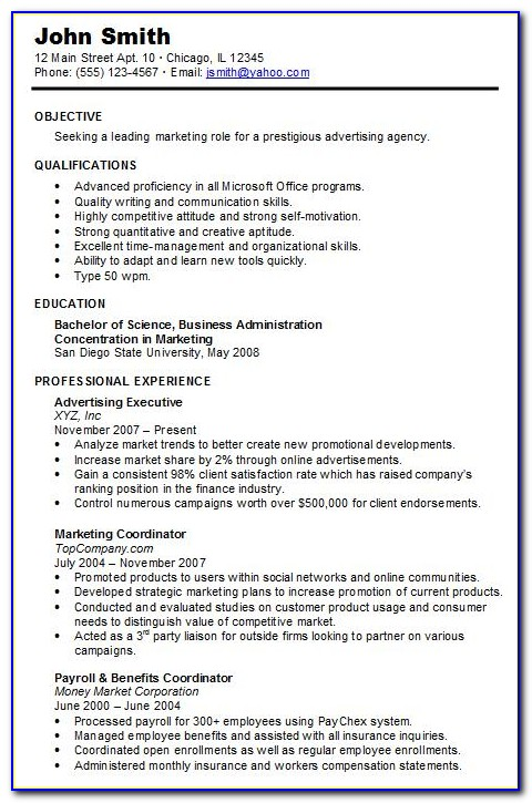 Example Of Chronological Resume Format