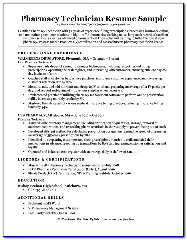 Example Of Pharmacy Technician Resume