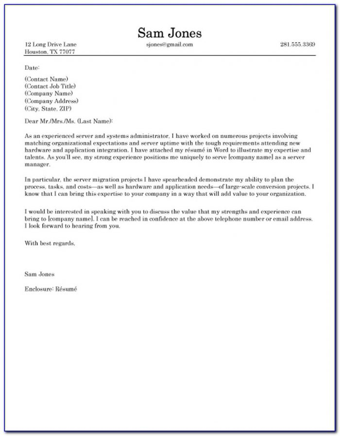 Examples Of Email Cover Letters For Resumes
