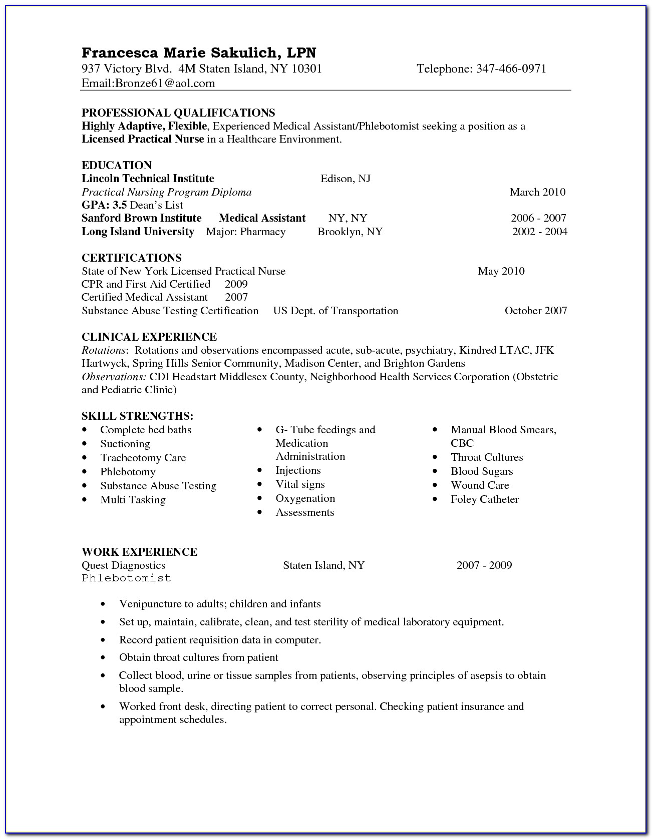 Examples Of Lpn Nursing Resumes
