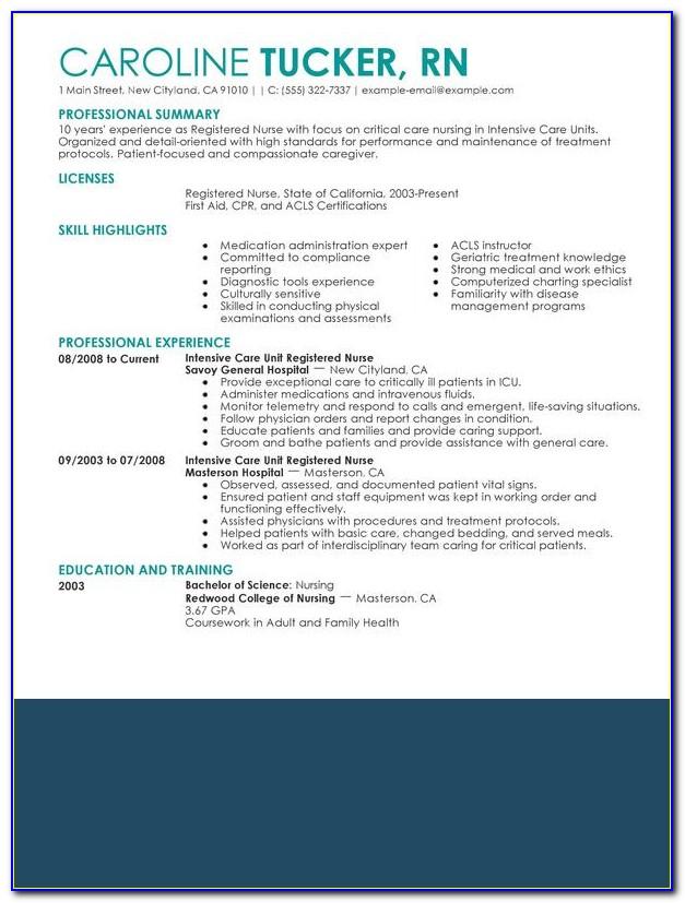 Examples Of Nursing Resumes