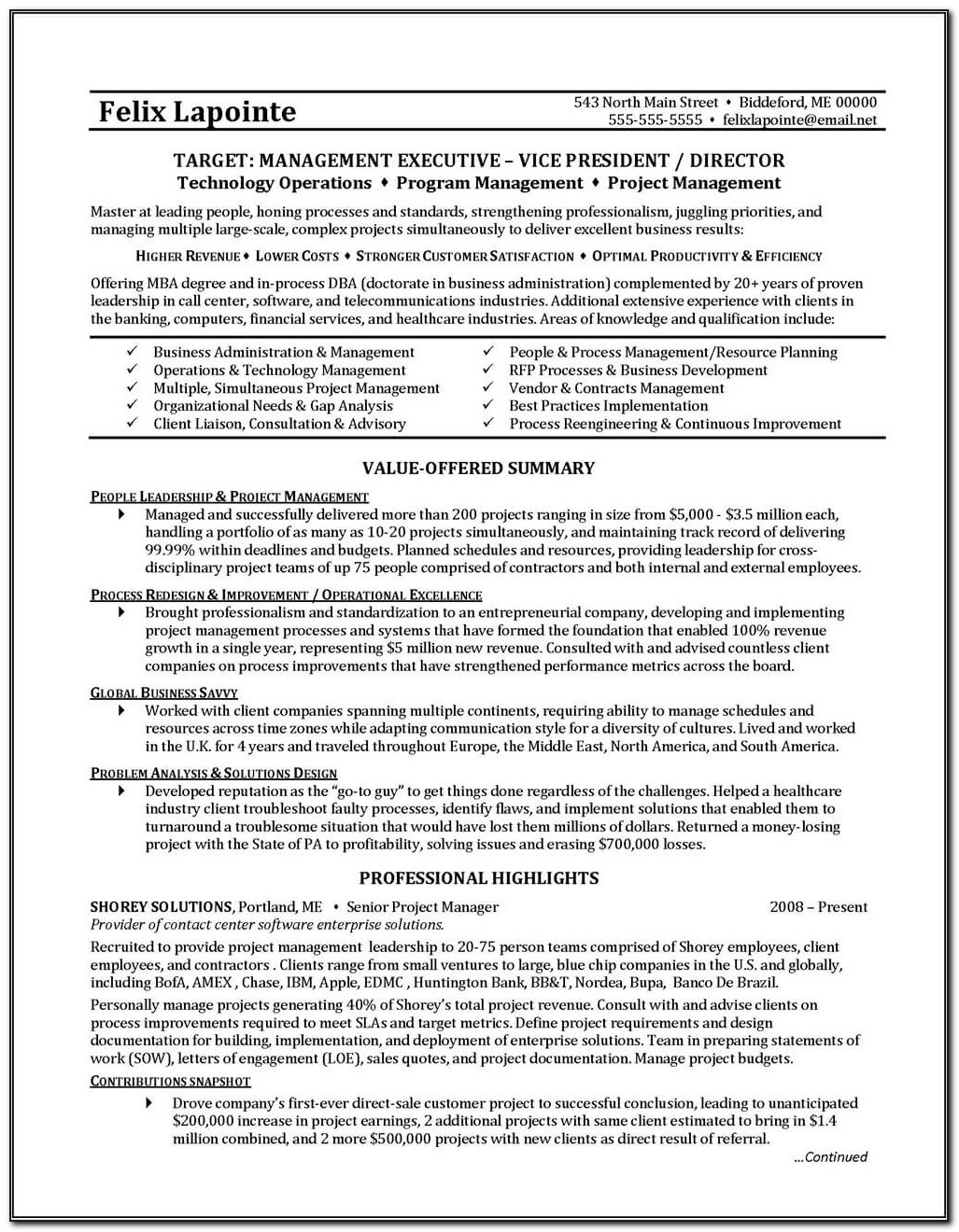 Examples Of Professionally Written Resumes