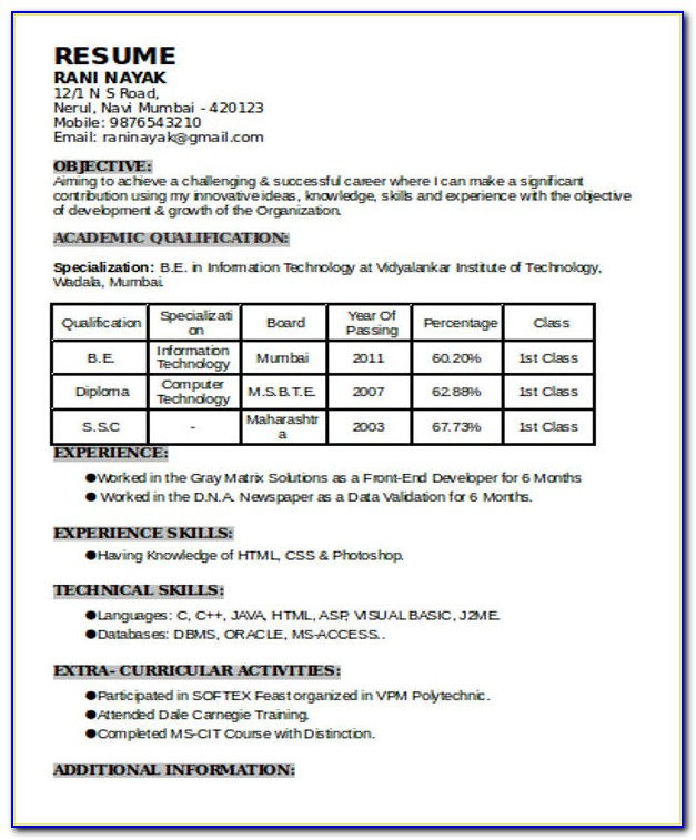 Examples Of Resume Format In The Philippines