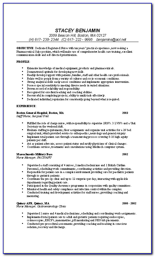 Examples Of Resumes For Nurses