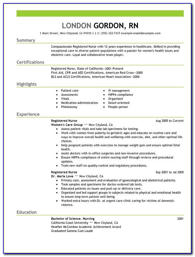Examples Of Rn Resumes Objectives