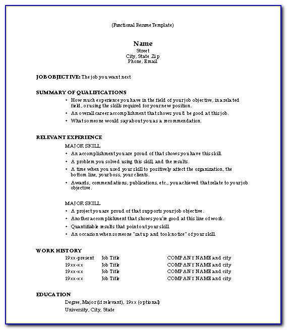 Examples Of Simple Resume Format