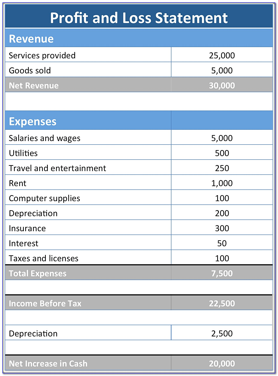 Excel Template For Profit And Loss Statement