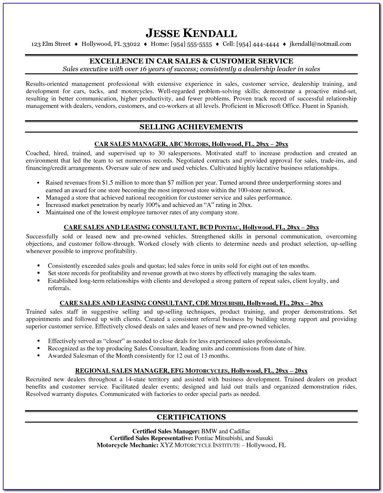 Car Sales Resume Templates Car Salesman Resume Sample 1 With Regard To Car Salesman Resume