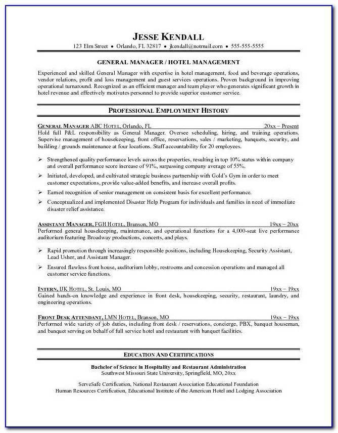 Executive Resume Template Free
