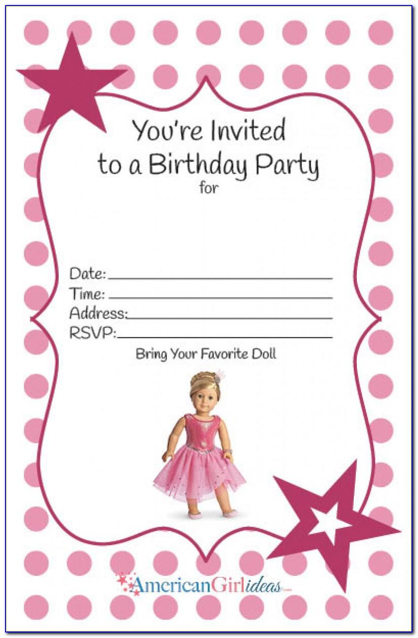 American Girl Birthday Party Invitations: Free Printables