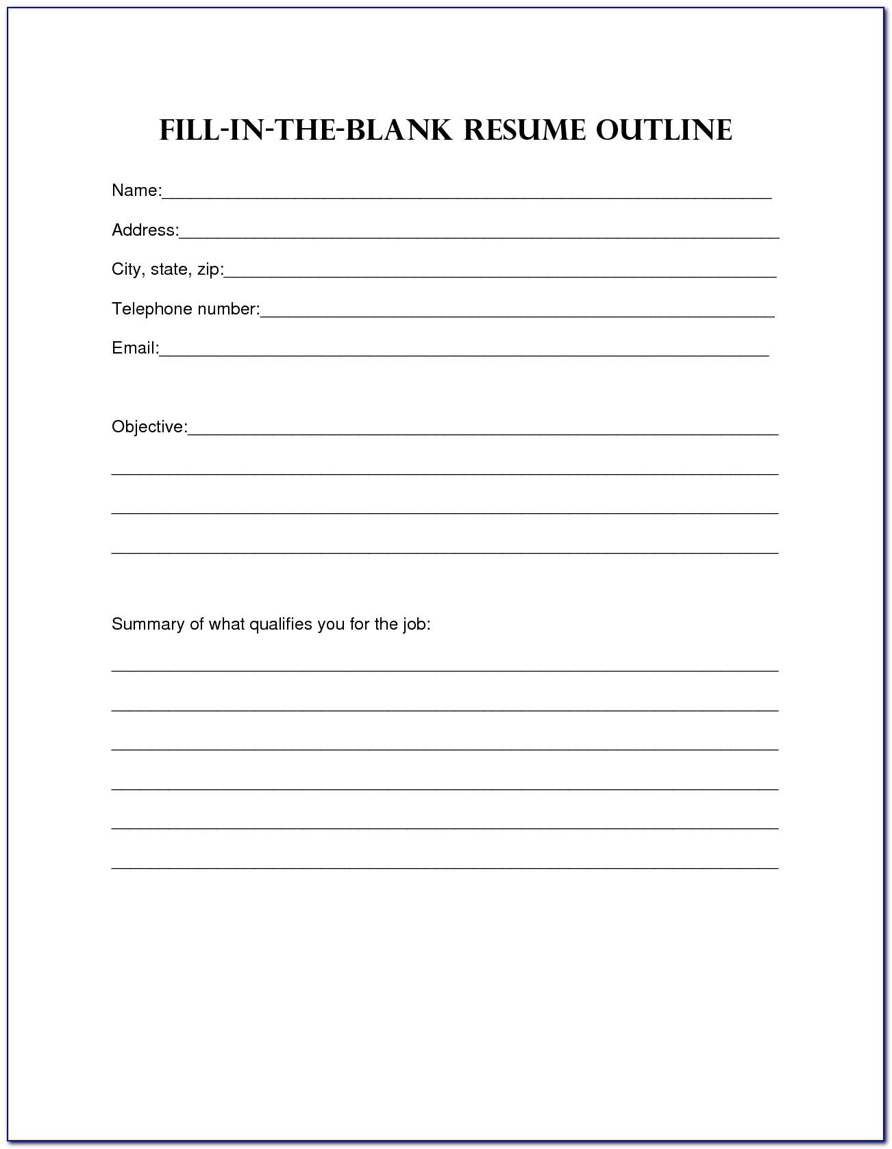 Fill Blank Resume Template Microsoft Word