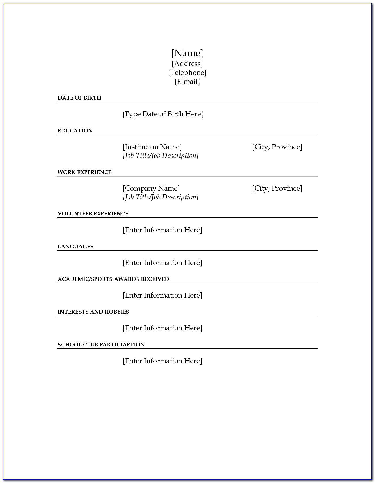 Fill In The Blank Resume Template For High School Students