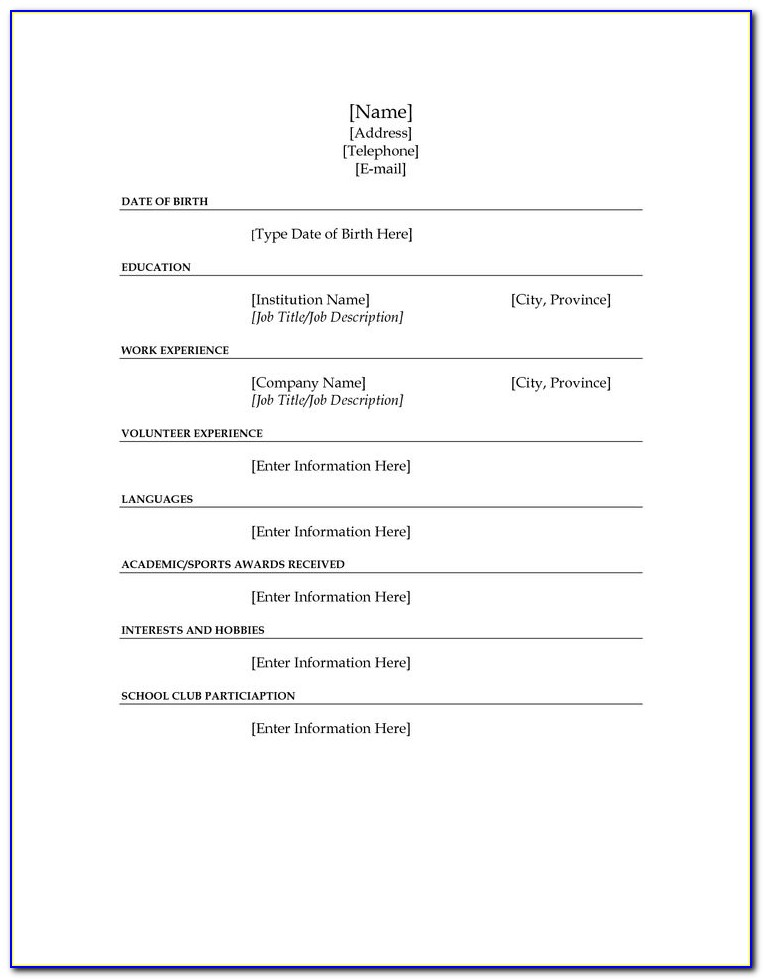 Fill In The Blanks Resume Worksheet