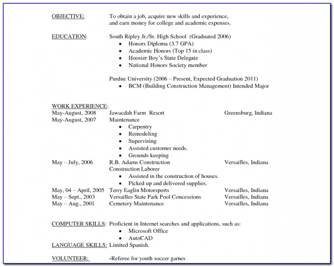 Filling Out Resume Objective