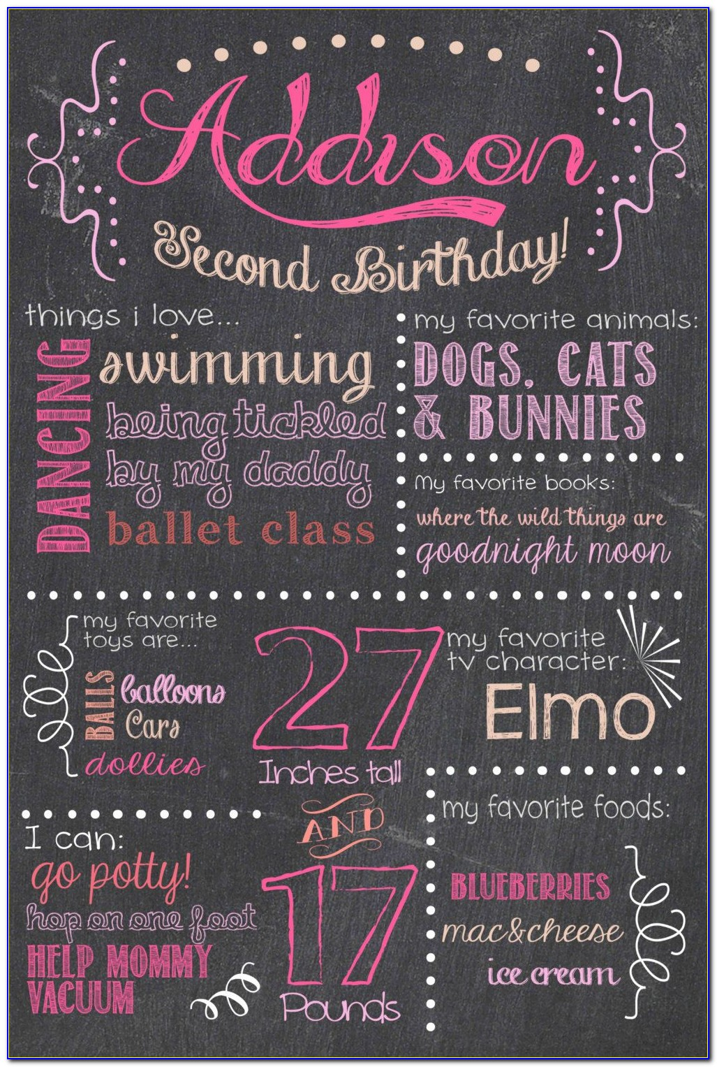 First Birthday Chalkboard Invitation Template