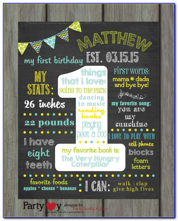 First Birthday Chalkboard Template Free Download