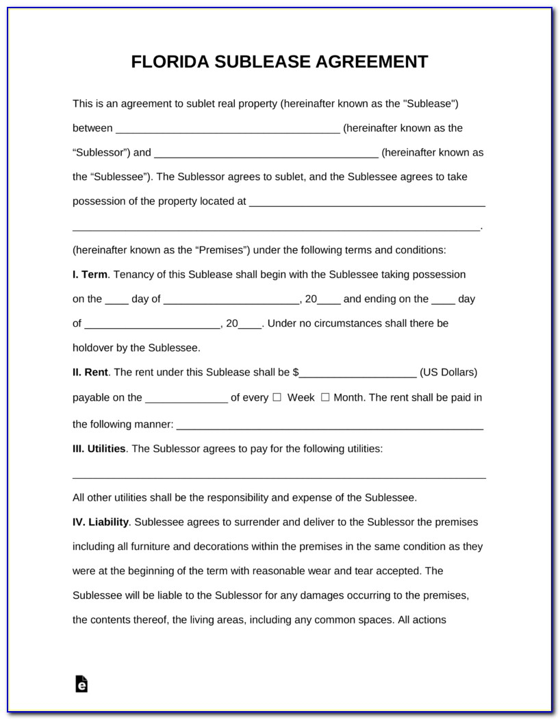 Florida Room Rental Agreement Template