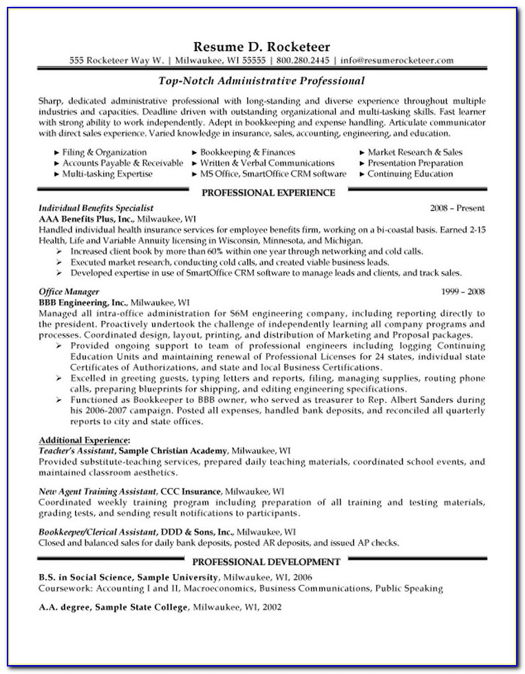 Format Of Professional Resumes